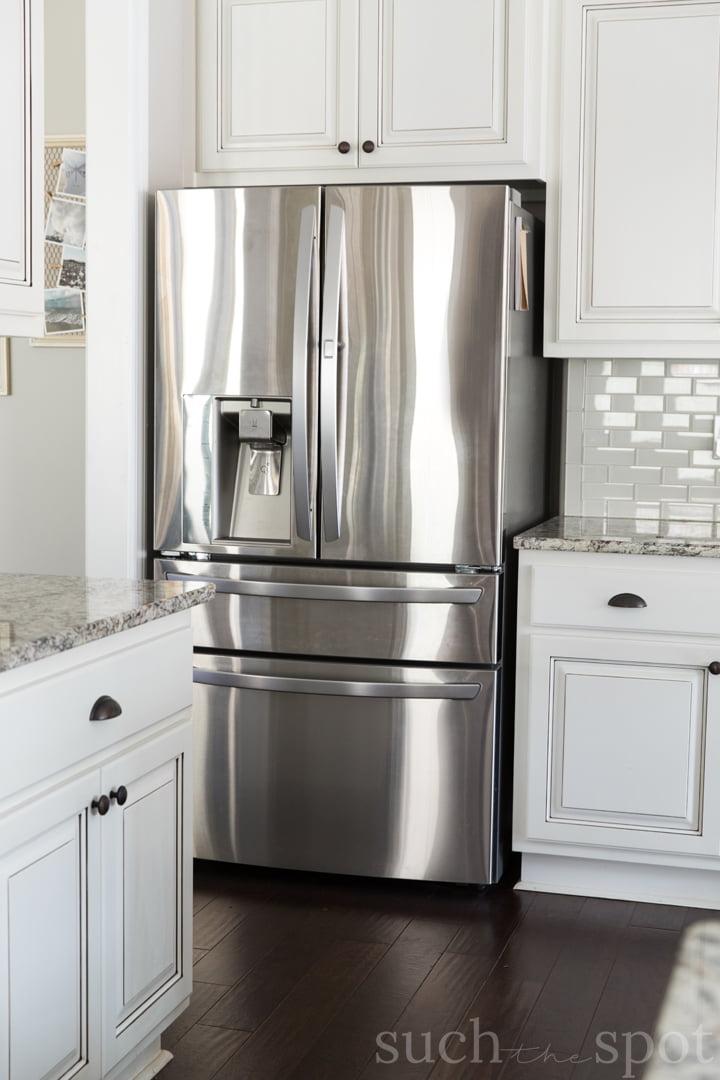 Large stainless steel double door refrigerator