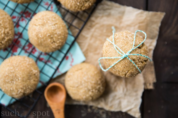 stack of brown sugar cookies tied with teal and white kitchen twine