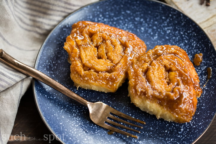 Quick Chai Spiced Skillet Sticky Buns on a plate with a fork