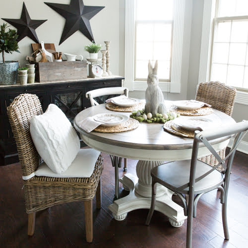 This easy and casual spring table idea is perfect for small or informal gatherings. The rustic centerpiece and understated place settings are both easy and inexpensive to put together and allow the focus to be on food, friends and family without compromising on beauty.