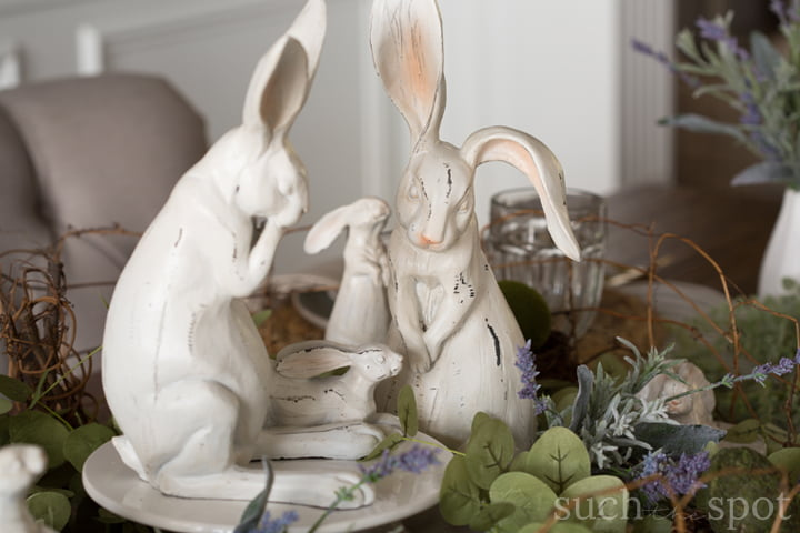 Sage Green and Lavender spring table set for Easter brunch or dinner