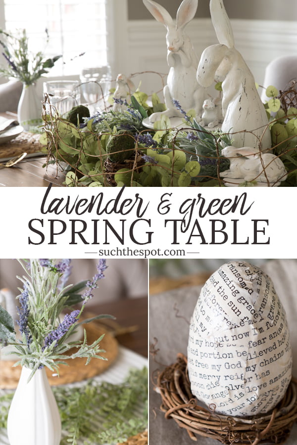Sage Green and Lavender spring table set for Easter brunch or dinner