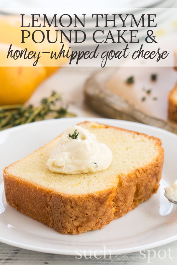 Sliced lemon pound cake on white plate topped with honey whipped goat cheese