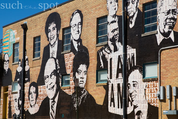 Mural of faces near the Civil Rights Museum in Memphis