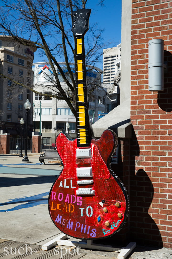 Large guitar photo prop in Memphis