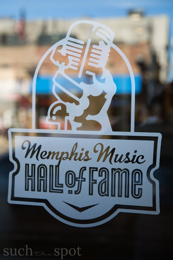 Memphis Music Hall of Fame sign on glass door