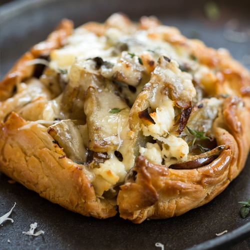 POTATO LEEK MUSHROOM GOAT CHEESE + THYME BREAKFAST PIE