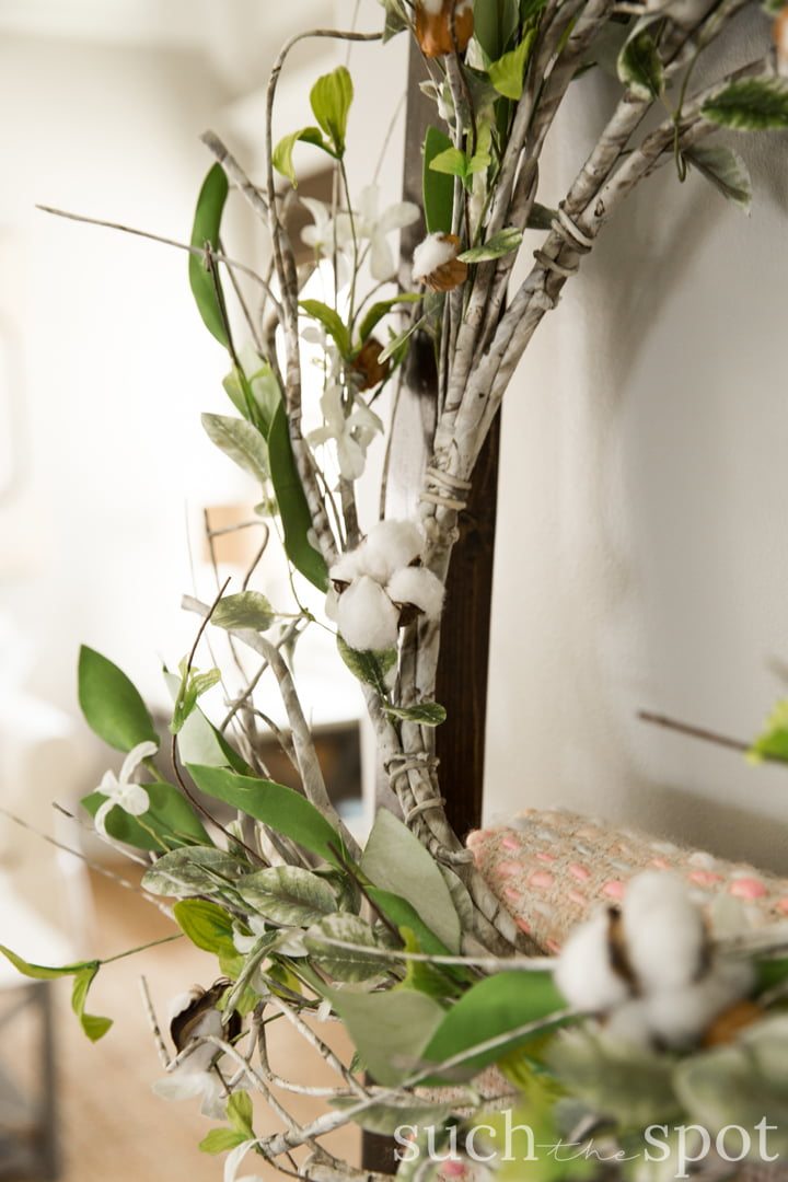 Spring wreath with cotton and greenery