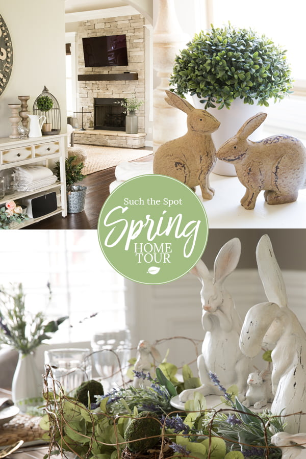 Collage of modern farmhouse spring home decor ideas photos