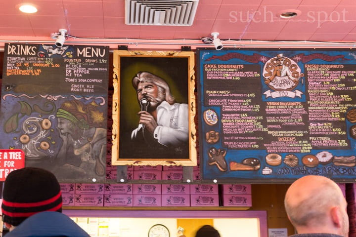 Voodoo doughnut menu in Portland, Oregon