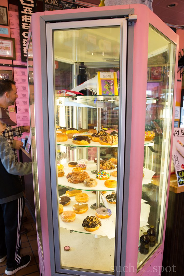 Rotating doughnut display case at Voodoo Doughnut in Portland, Oregon