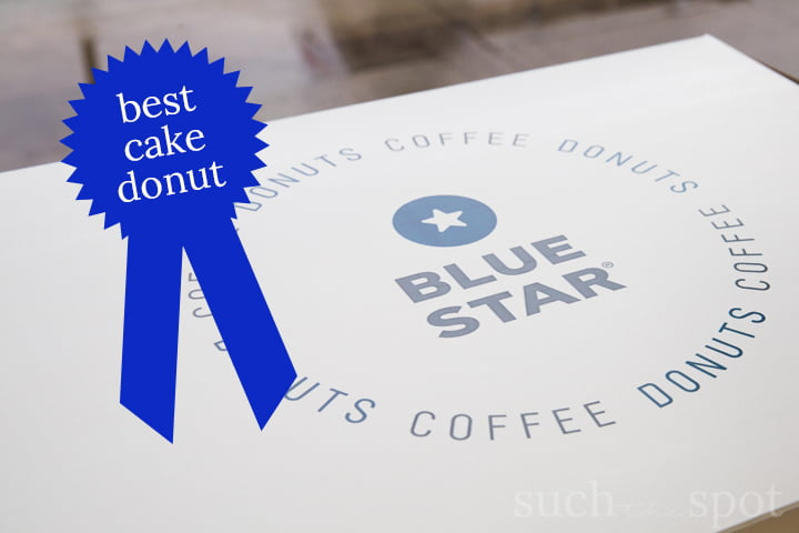 Blue Star Donut Box with blue ribbon graphic