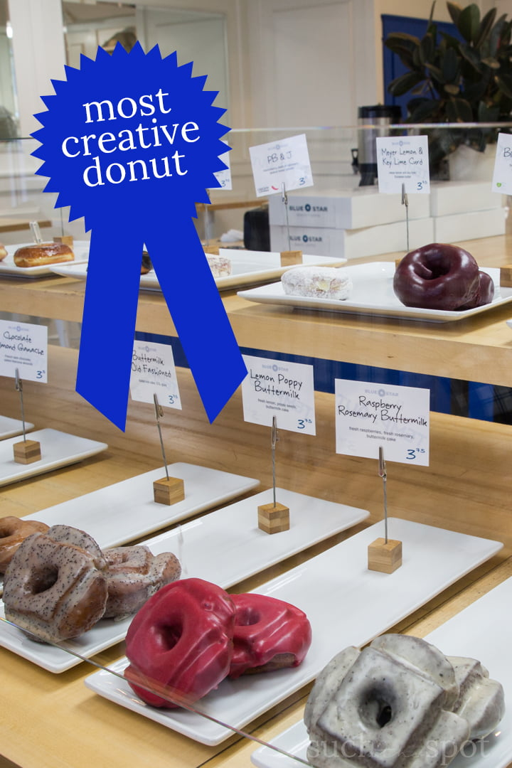 Blue Star Donut Portland product/menu display with flavor descriptions