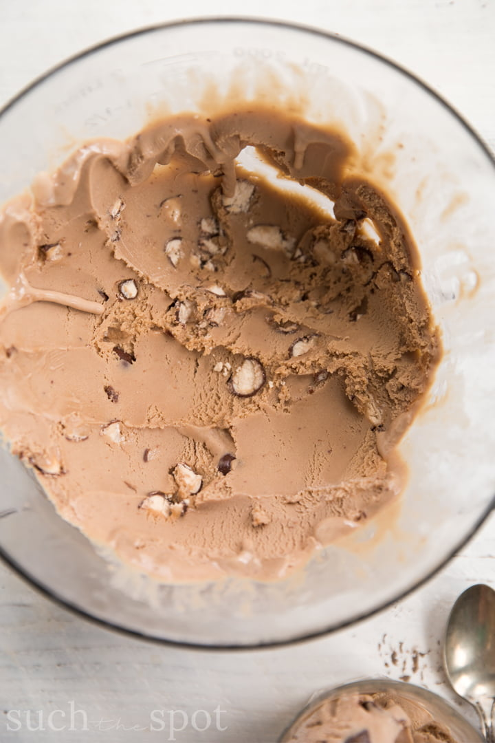 Chocolate Malted Crunch homemade ice cream in a glass dish with antique spoon