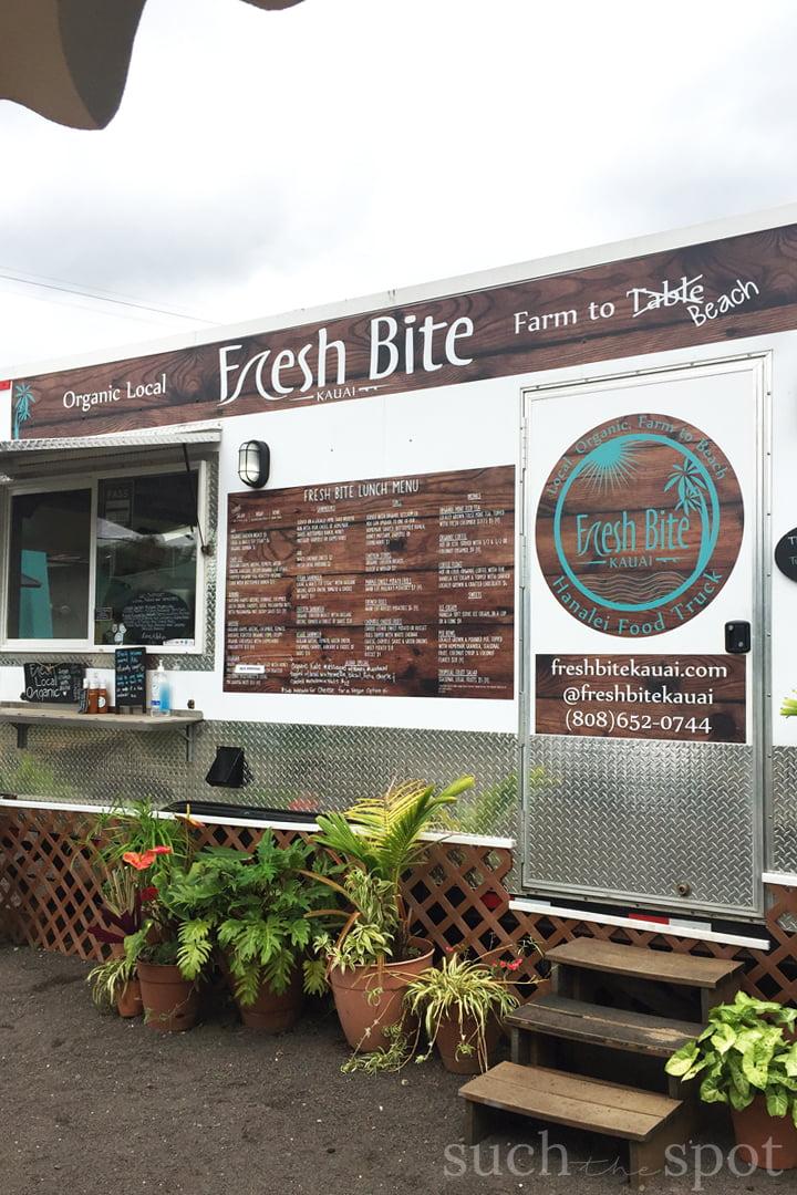 Fresh Bite Kauai Food Truck in Hanalei on the island of Kauai