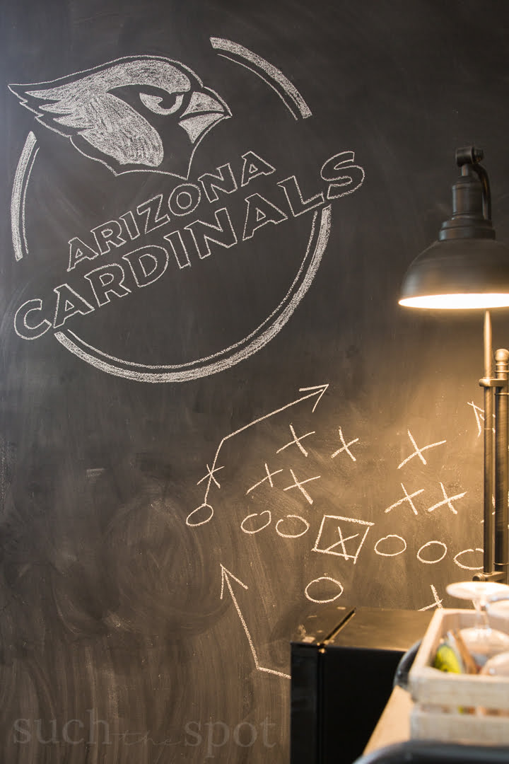 Football man cave chalkboard wall with Arizona Cardinals logo