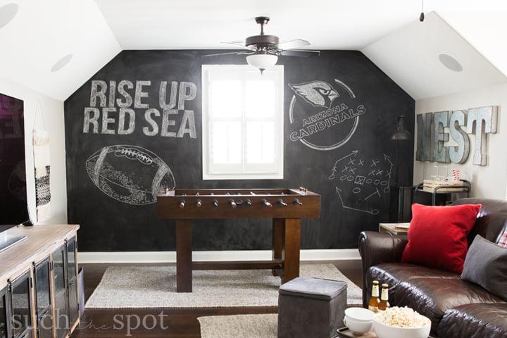 Chalkboard wall in Arizona Cardinals football man cave