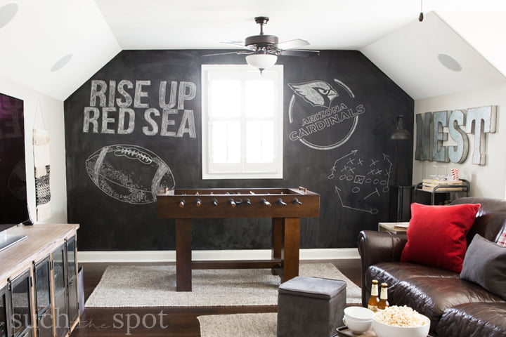 Chalkboard wall in Arizona Cardinals football man cave