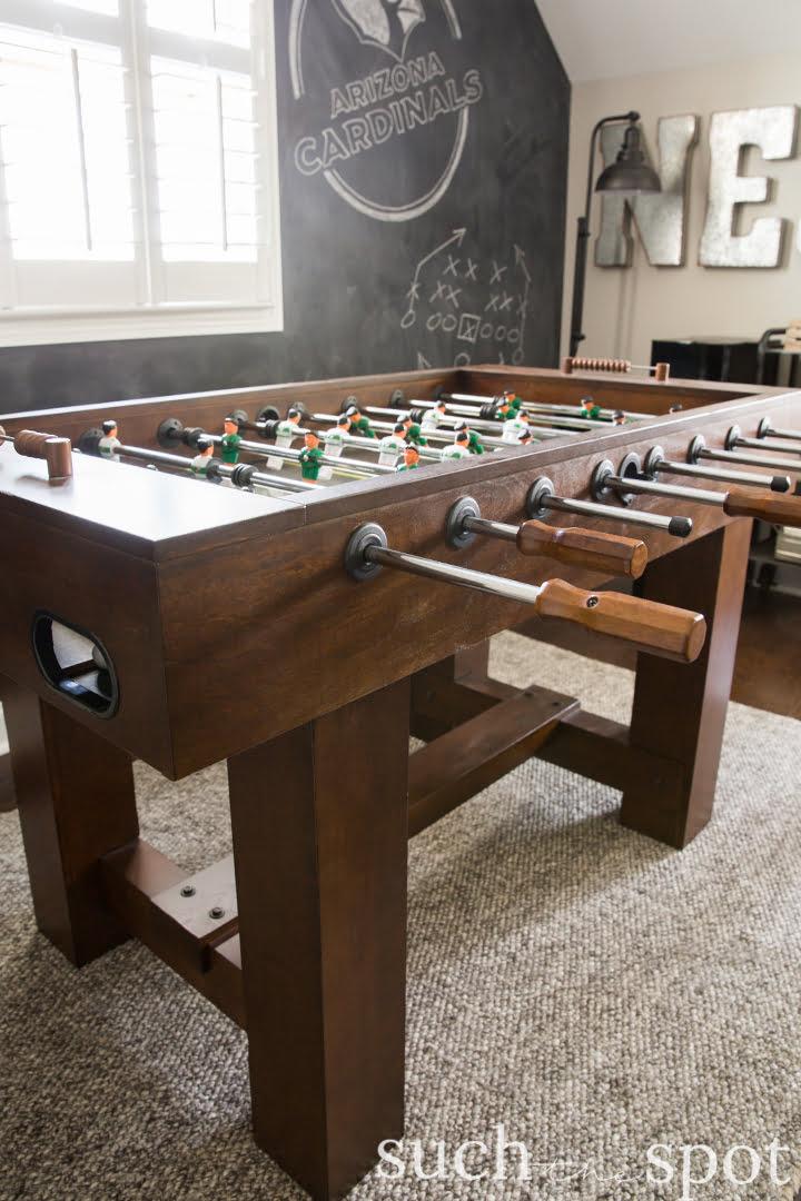 American Heritage foosball table in modern farmhouse game room