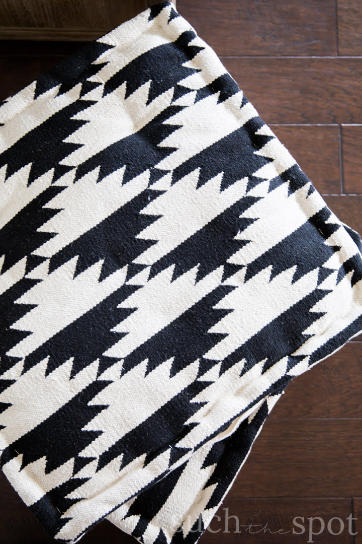 Boho black and cream square floor pillows