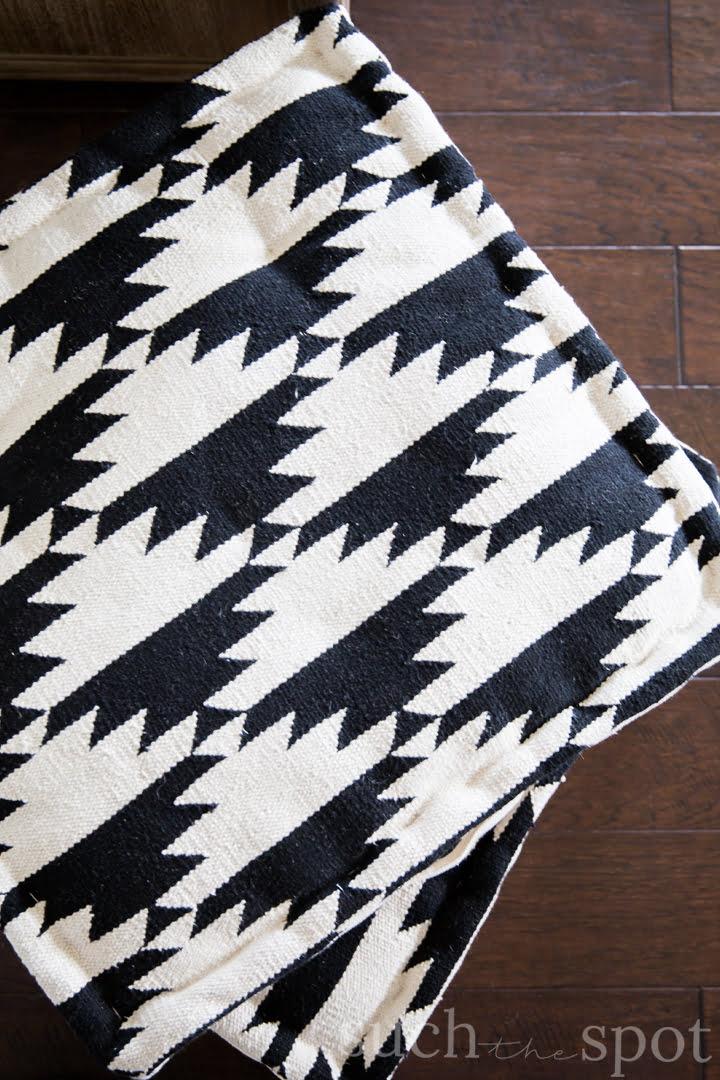 Boho black and cream square floor pillows
