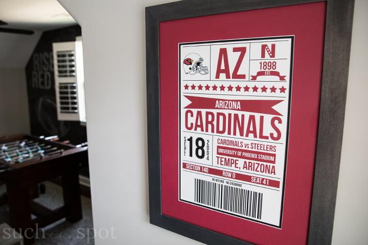 Arizona Cardinals game ticket framed art
