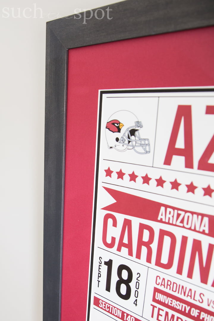 Arizona Cardinals game ticket framed art
