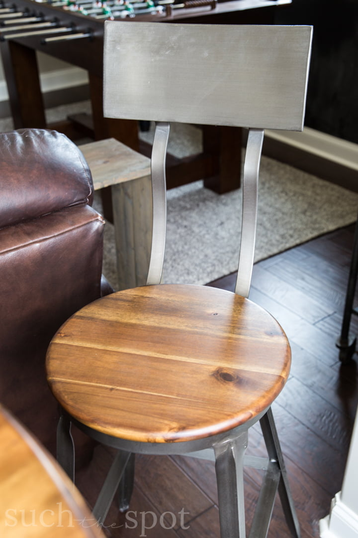 Gray washed wood and metal pub table