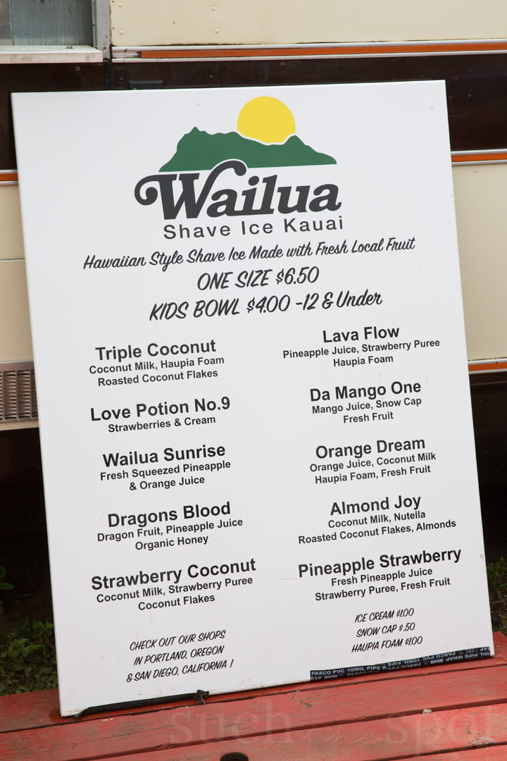 Menu with flavors and prices for Wailua shave ice on Kauai