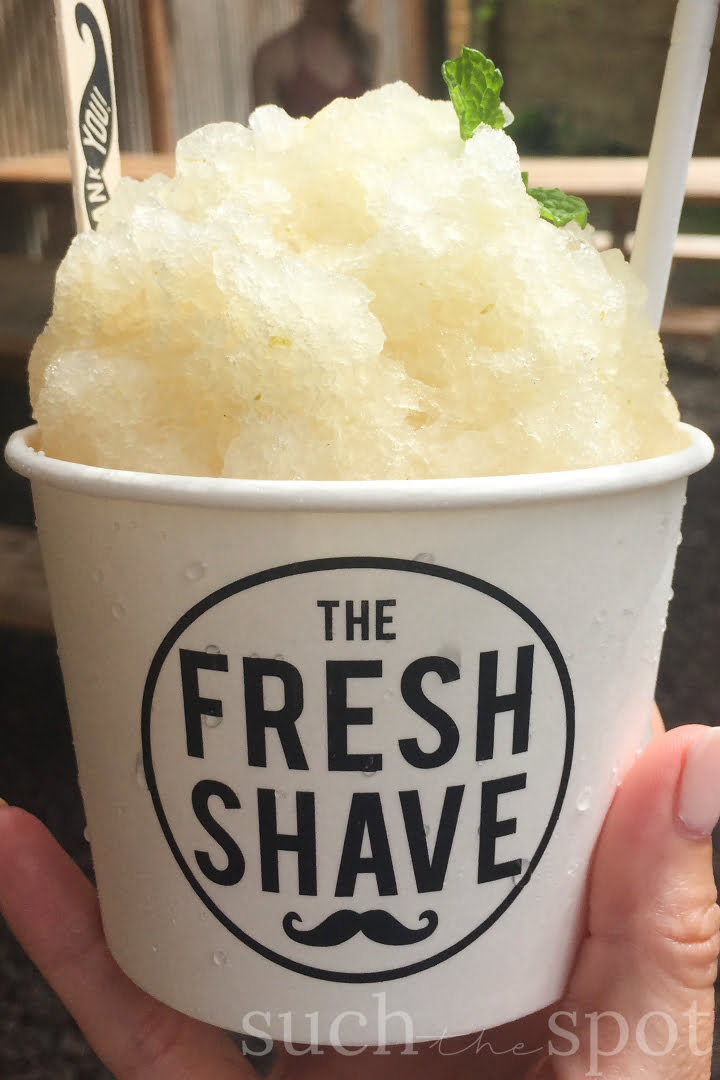 lime and mint fresh shave shave ice topped with fresh mint sprig