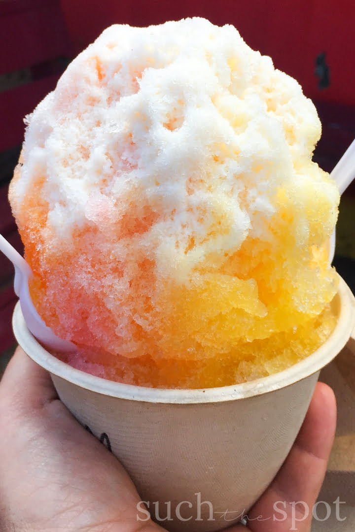 Tropical breeze shave ice with mango, guava and passion fruit