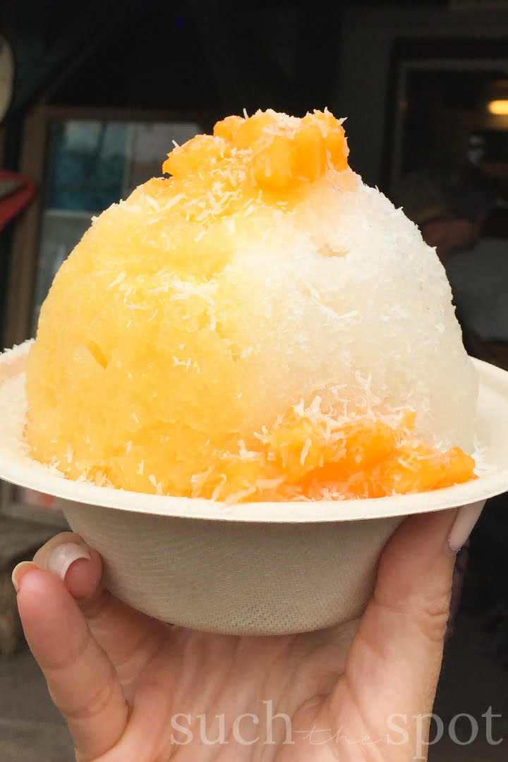 shave ice with passion fruit and coconut