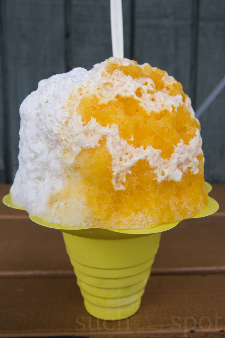 white and yellow shave ice