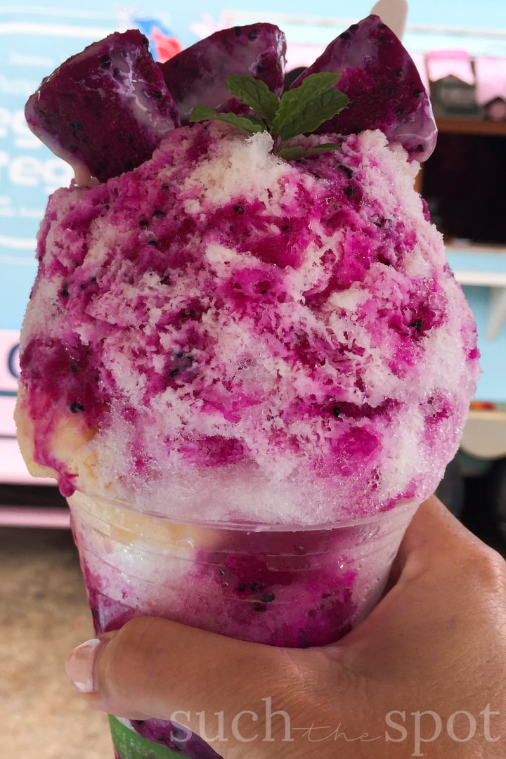 dragon fruit shave ice topped with fresh dragon fruit