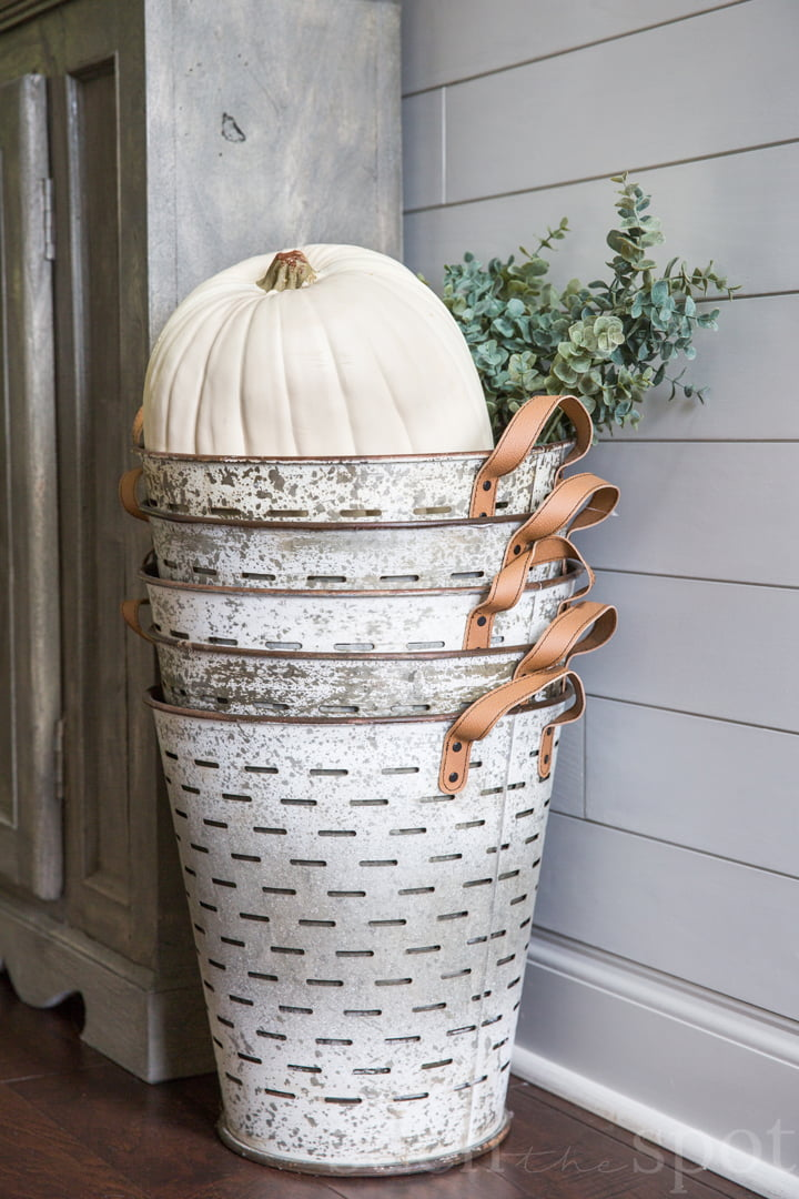 Olive buckets with large white faux pumpkin and eucalyptus stems and shiplap in the background