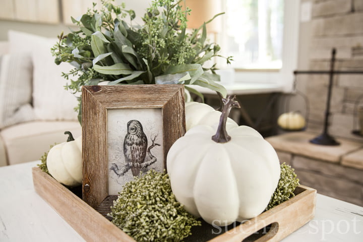 A rustic tray on a white coffee table filled with faux pumpkins, green hydrangeas and a fall framed photo