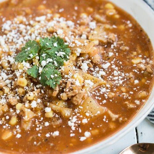 Instant Pot Potato Taco Soup in white soup bowl