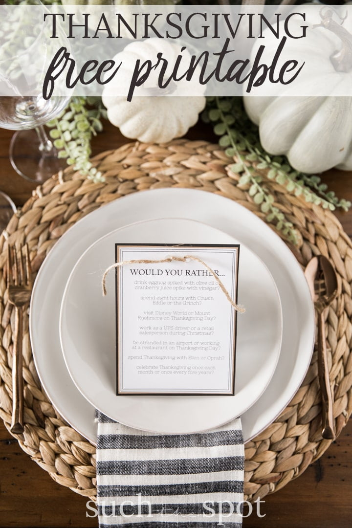 free printable Thanksgiving dinner table activity on a white plate with rattan charger
