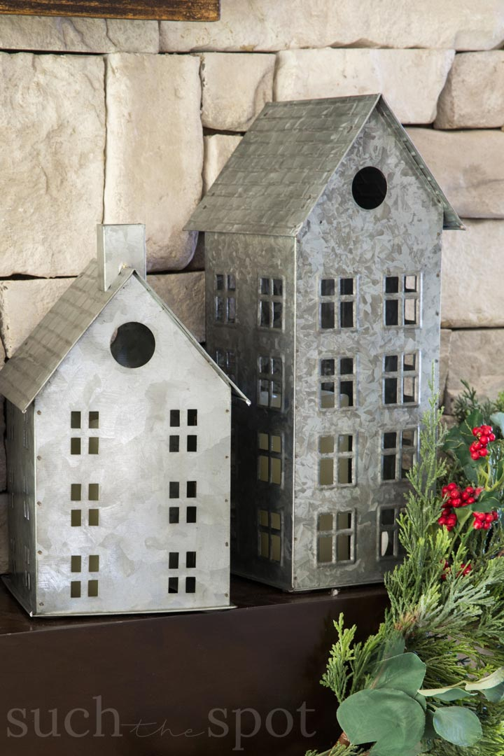 galvanized tin favorite christmas decor village house