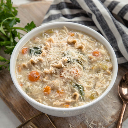 Bowl of Instant Pot White Chicken Lasagna Soup