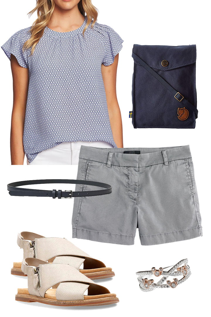 cute gray shorts with a casual blouse and navy colored accessories