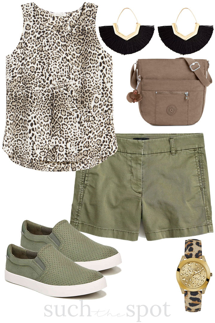 cute cropped pants with white cold shoulder tee and coordinating accessories