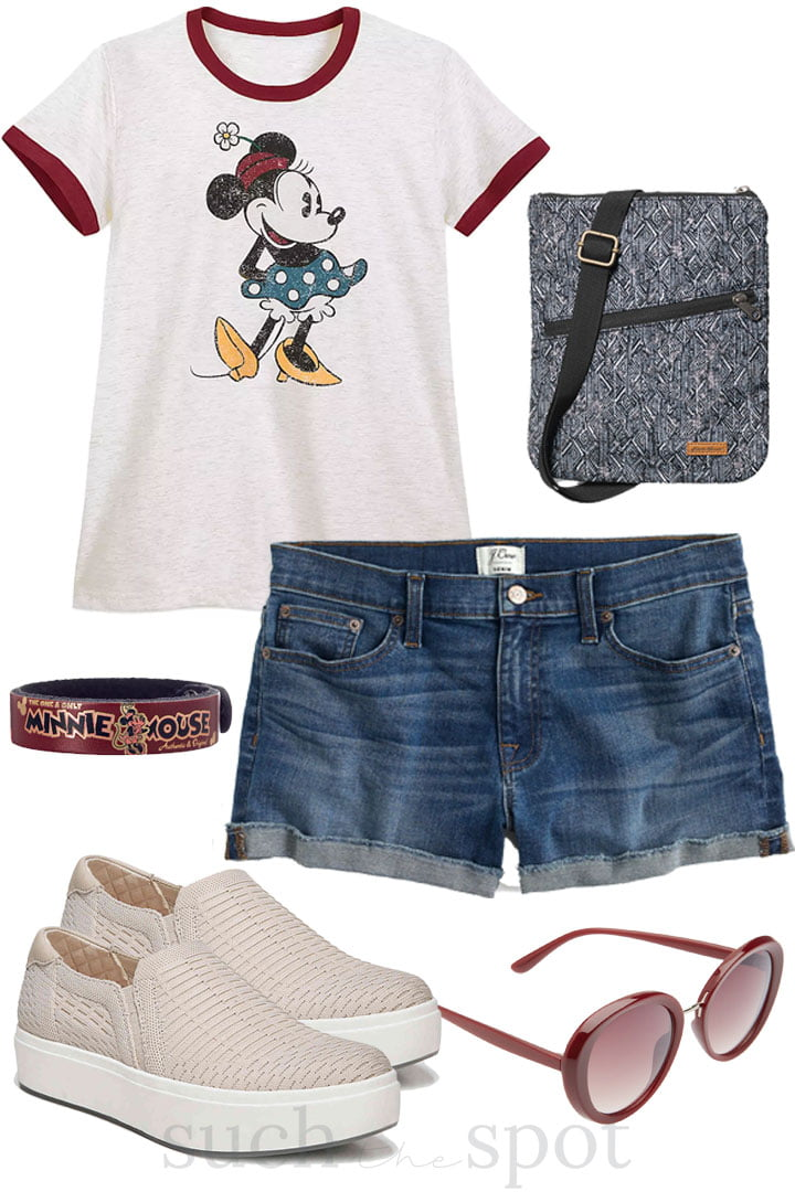 minnie mouse vintage ringer tee shirt with comfortable slip on sneakers