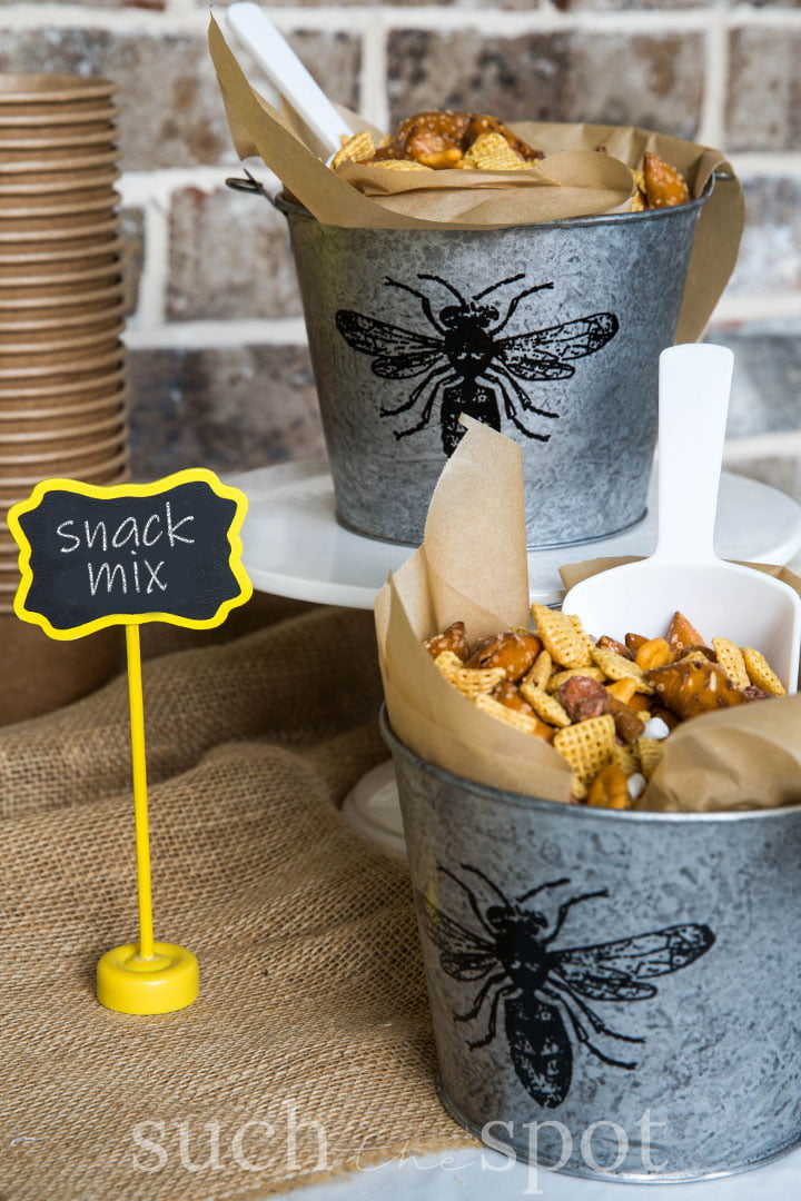 honey nut snack mix for bee graduation party theme and ideas