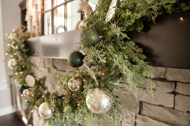 green and gold Christmas garland