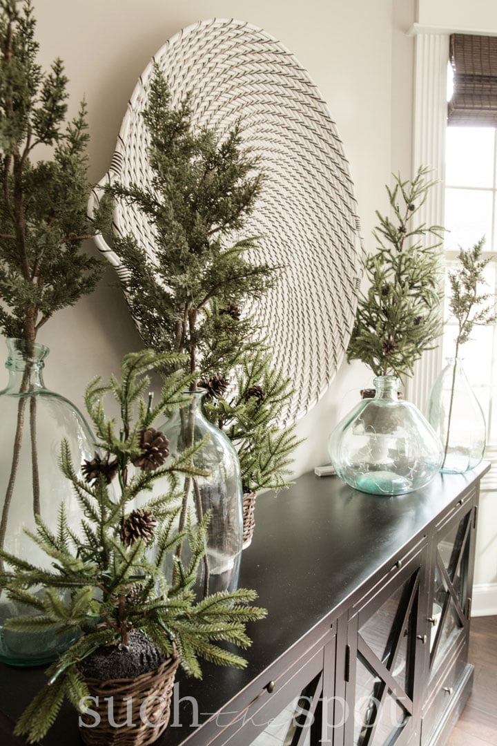 Dining room buffet table Christmas decorations
